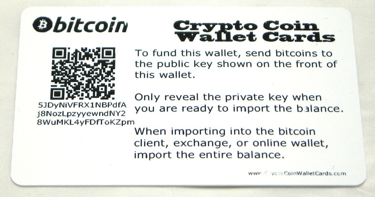 Bitcoin Wallet Card Back Private Key Hologram